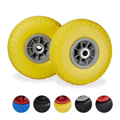 Relaxdays, Amarillo y Gris 2X Ruedas de Carretilla, Neumáticos de Goma, 3.00-4, Eje de 20mm, hasta 150 kg, 260x85 mm
