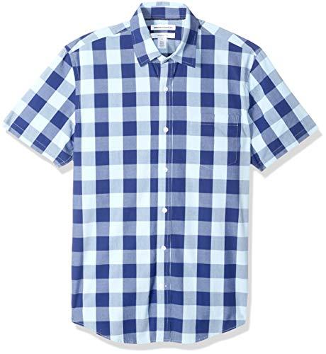 Amazon Essentials Men's Slim-Fit Short-Sleeve Check Casual Poplin Shirt, Blue Buffalo, Large