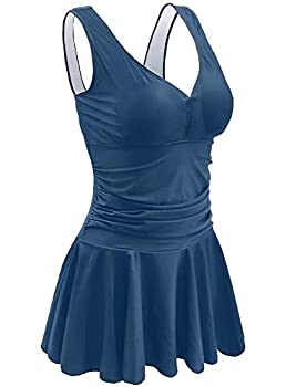 Retro Vintage Chlorine Resistant Swimsuits Petite Swim Dress Push Up Bra Full Bathing Suits for Women Modest Plus Size  US 16-18
