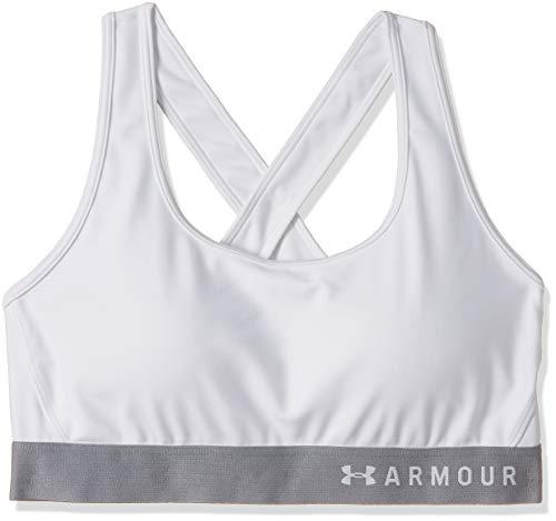 Under Armour Damen Mid Crossback Sport BH, atmungsaktives Bustier, komfortable Funktionsunterwäsche mit Kreuzträgern und Passform Kompression, Weiß (White ), XS