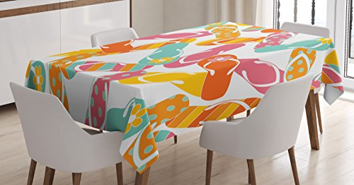 """Ambesonne Summer Tablecloth, Colorful Bunch Flip Flops Sandals Pattern Relax Holiday Sunbath Theme Groovy Graphic, Dining Room Kitchen Rectangular Table Cover, 60"""" X 84"""", Yellow Pink"""