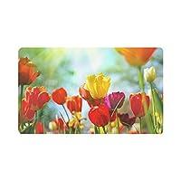 美しいチューリップ春の花玄関マット滑り止めエントランスマットフロアラグ屋内/屋外ドアマット家の装飾,40x60 cm