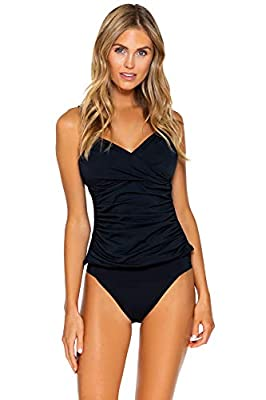 Sunsets Women's Simone Convertible Strap Tankini Top Swimsuit, Black, E Cup