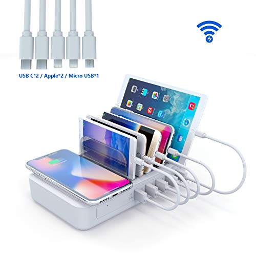 YOJA Kabellos Ladestation Mehrere Geräte Wireless Charger 5 Port USB Charging Station Multi Ladestation Handy Tablet mit Kabellos Induktives Ladegerät (Inklusive 5 Kurze Kabel)