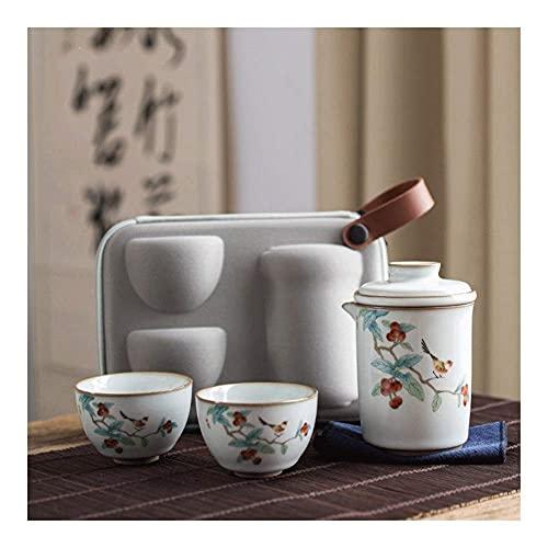 Bule de chá japonês, portátil para viagem, conjunto de chá de Kungfu, conjunto de chá de viagem, conjunto de bule de chá de animal chinês/feito à mão, 2 xícaras de chá para escritório ou casa que trabalha diariamente