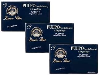 Conservas de Pescados y Mariscos Ramón Pena Pulpo en Aceite de Oliva/Aceite de Oliva Pulpo Pescado enlatado exclusivo en conserva - 3 x 110 gramos (peso escurrido 3 x 90 gramos)
