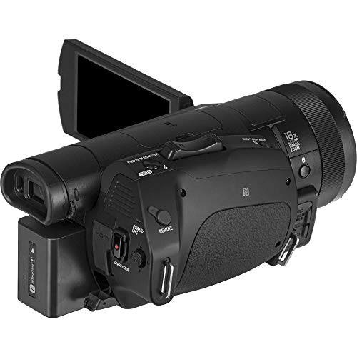Sony Handycam FDR-AX700 4K HD Video Camera Camcorder + 2 Extra Batteries and Charger + 128GB Memory Card + Case + Mic + Monitor and More (International Model) - Professional Bundle