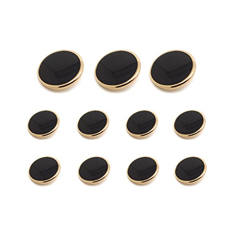 Funcoo 11 pcs Metal Blazer Button Vintage Antique Suits Button Set for Blazer, Suits, Sport Coats, Uniform, Jacket (Black+Gold)