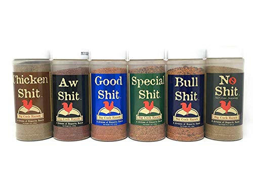 Shit Load Big 6 Sampler (Pack of 6 Seasonings with 1 each of Bull, Special, Good, Aw, Chicken, and No)