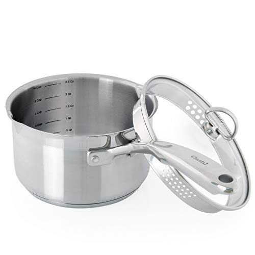 Chantal Induction 21 2.5 quart Sauce pan with Glass Strainer Lid, Brushed Stainless Steel