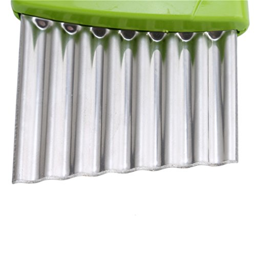 VWH Stainless Steel Crinkle Cut Potato Chip Cutter Vegetable Wavy Blade Cutter Kitchen Tools (green)