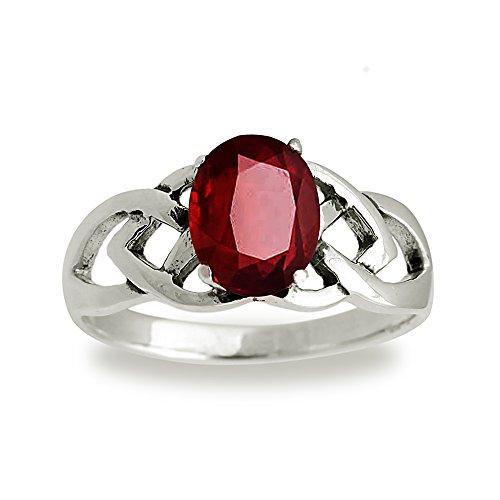 925 Sterling Silver 9 mm Genuine Oval Red Garnet Celtic Band Ring - Size 6