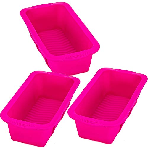 Tosnail 3 Pack Nonstick Silicone Bread Mold and Loaf Pan - 9.75' x 4.75' x 3'