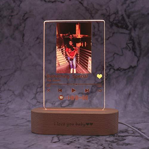 Benutzerdefinierte Foto Musik Album Cover Nachtlicht Graviert Name Song Fotorahmen Acryl Lampe mit Holzsockel Einzigartiger Valentinstag Geburtstag Muttertag Jubiläum