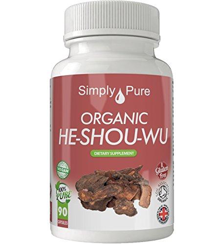 Cápsulas veganas de He-Shou-Wu orgánico, 90 cápsulas de 500 mg, certificado Soil Association, producto exclusivo de Amazon