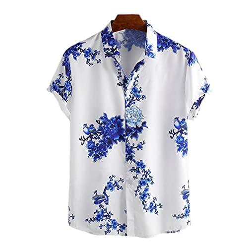 NIDONE Chemise de Plage à Manches Courtes Occasionnel pour Hommes Hommes Cravate Teinture Hawaiian Shirt Plage à Manches Courtes T-Shirts Casual Bouton Tapis Tops Bleu 2XL