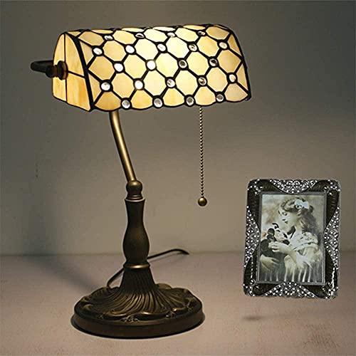 Lámpara de banquero tradicional Base de madera maciza a mano Esmeralda Lámpara de vidrio retro Lámpara de mesa antigua Lámpara de mesa antigua
