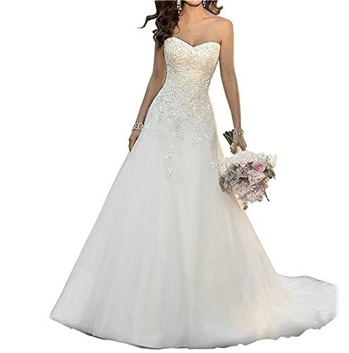 ANJURUISI Sweetheart Appliques Perlen Klassische Organza A-line Brautkleider Wei?-44