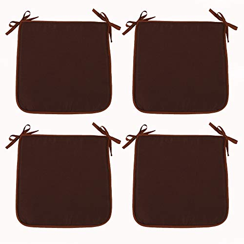 SIMPVALE Set of 4 Chair Cushions with Ties - Square Chair Pads for Office Home Garden Outdoor Indoor (15.7x15.7x0.4inch/40x40x1cm, Brown)