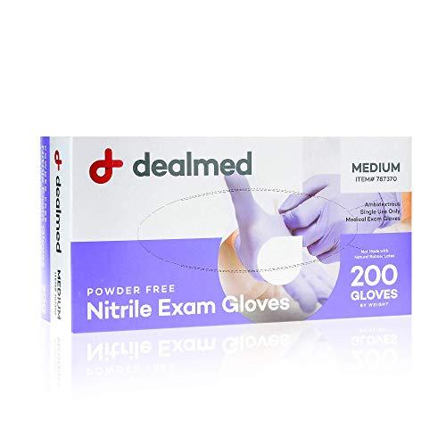 Dealmed Nitrile Medical Grade Exam Gloves, Disposable, Latex-Free, Medium (200 ct.)
