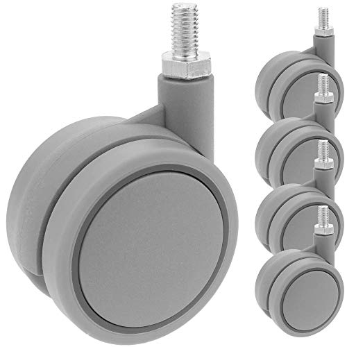 PrimeMatik - Rotelle pivotanti Ruote di Nylon e Polipropilene Senza Freno 60 mm M8 5 Pack