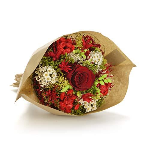Bouquet Garden (Rosso) Sanremo fiori essiccati dalla Riviera dei Fiori con rosa stabilizzata …