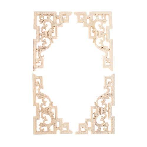 MUXSAM 4 st trä snidade gjutningar dekal hörn stapling applikationsram för möbler vägg omålat hem skåp dörr dekor hantverk 15 x 10 cm