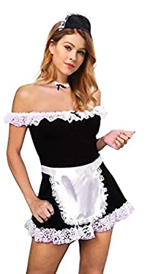 Women's Maid Costume 5 Pieces Dress Apron Neck Head Piece Black/White, One Size