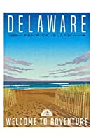 デラウェアの穏やかなビーチの砂丘と大西洋の旅行ポスター 300枚の木のパズル脳が美しいアクセサリーに挑戦します。