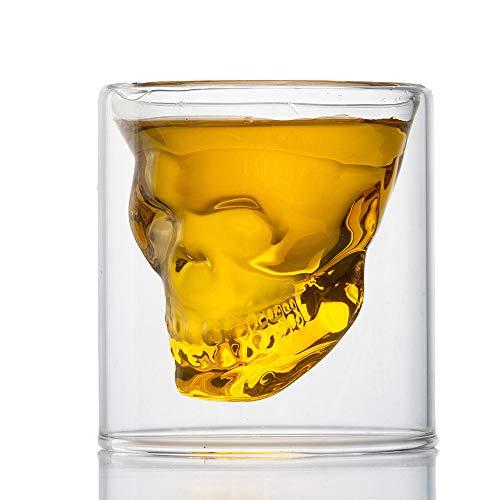 HwaGui Calavera Doble Cristal Vaso Tazas para Fiesta Bar Casa, Copas de Cerveza Doble Pared Whisky Vino Agua 250ml / 8.8oz