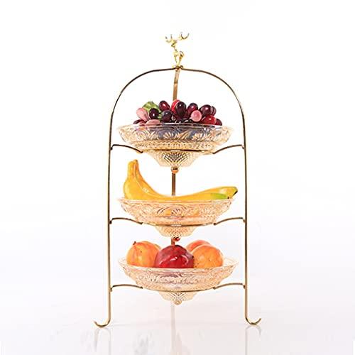 ZhaoLiRuShop Cesta de Frutas Plato de frutac Metal 3-Tier Snack Bandería Vidrio Fashion Nut Bandeja Decoración de la Boda Fruit Bandeja Torta de 2 Niveles Bandeja (Color : Gold, Size : 21 * 41cm)