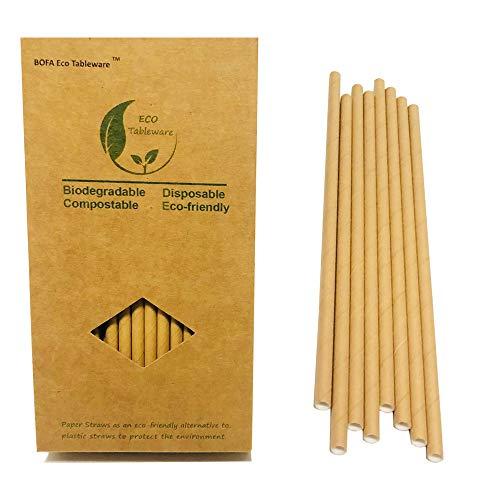Lot de 100 pailles en papier kraft marron 100 % biodégradables