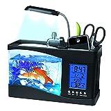 Achnr USB Desktop Mini Fish Tanque Aquarium Vidrio LCD Temporizador de Reloj LED Lámpara Luz LED LED Aquarium Fish Tank Reloj de Alarma Negro/Blanco (Color : Black)