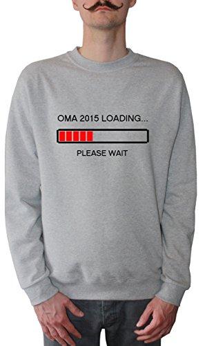 Mister Merchandise Homme Sweatshirt Oma 2015 Loading…Please Wait Omi GroßmutterPull Sweat Men, Taille : L, Couleur: Gris