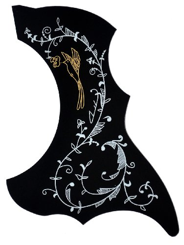 ts-ideen 6083 Pickguard Schlagschutz Schwarz mit Blumenmotiv für Akustik Gitarre Konzertgitarre und Westerngitarre