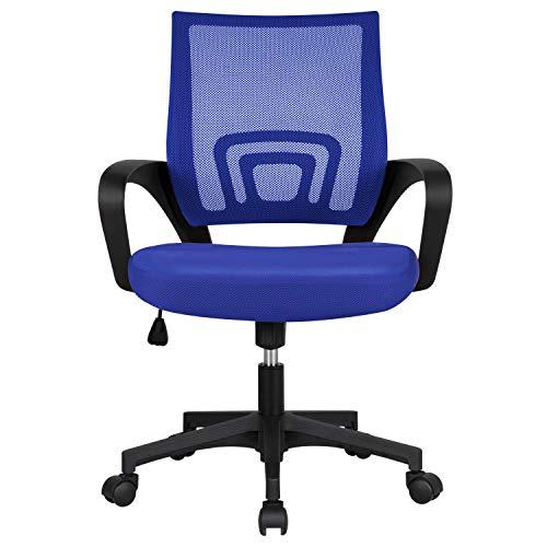 Yaheetech Silla de Oficina Silla de Malla Altura Ajustable para Trabajo Silla Escritorio Ergonómica Giratoria Azul