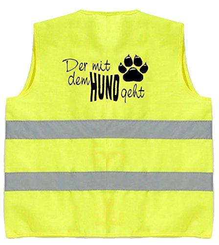 Hundesport Warnweste | Der mit dem Hund geht | Gelb | Brust- und Rückendruck | Größe L/XL