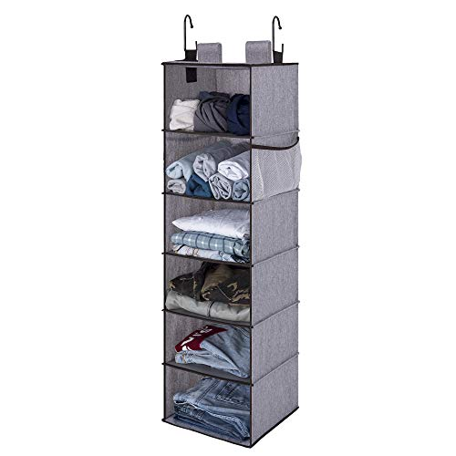 "StorageWorks 6-Shelf Hanging Closet Organizer, Hanging Shelves for Closet, Fabric, Graphite Gray, 12""W x 12""D x 42""H"