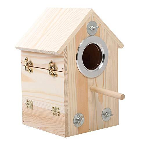 Houten vogelhuisje, om te knutselen, nestkastje van hangend vogelhuisje met dubbele dennen; design met zijdelingse opening; voor tuindecoratie aan het buitenvenster, 16 x 16 x 26 cm
