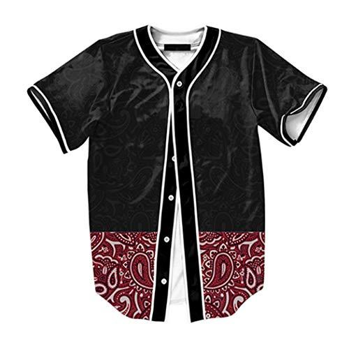 Raylans Camisa de béisbol casual para hombre con estampado floral 3D, de manga corta, con botones, Hombre, BRT-MC011-Color1-M, Color1, UK S(Tag M)