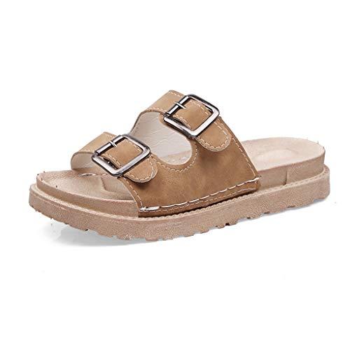 DressLksnf Mujer Sandalias Chanclas Mulas para Zuecos De Corcho Correa Gamuza Ajustable Hebilla Zapatos Planos del Pie Al Aire Libre Casual Sandalias