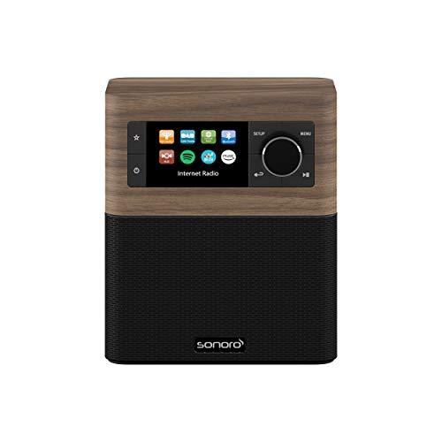 sonoro Stream Internetradio für Küche und Bad (FM/DAB+, AUX, Bluetooth, Spotify, Amazon Music, Deezer) Walnuss/Schwarz (2020)