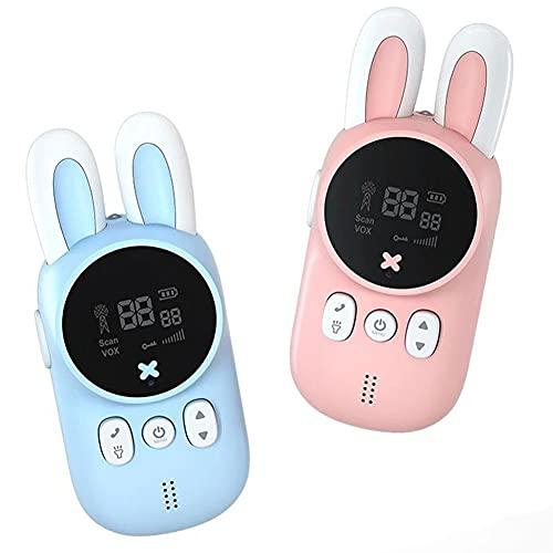 Los niños de walkie Talkie Mini Receptor Handheld con Luces LED Cuerda de Seguridad Anti-Perdida 2 Piezas