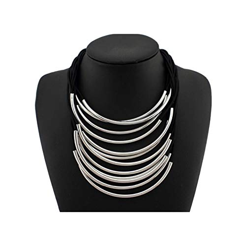 HND ZNXHNDSH Me Multi Capas Collares declaración for joyería de Las Mujeres Maxi Gargantilla Moda Banda de Goma Brillante del Tubo del Metal de los Colgantes (Color : Silver)