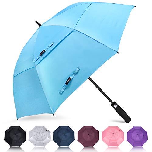 ZOMAKE Automatisches Öffnen Golf Regenschirm 172,7 cm Oversize Extra Groß Double Canopy belüftet Winddicht wasserdicht Stick Schirme (Hellblau)