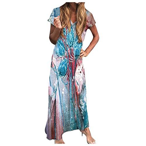 1988&Koi Damen Sommer Kleider Kleid Partykleid Casual Kurzarm V-Ausschnitt Bedrucktes knöchellanges