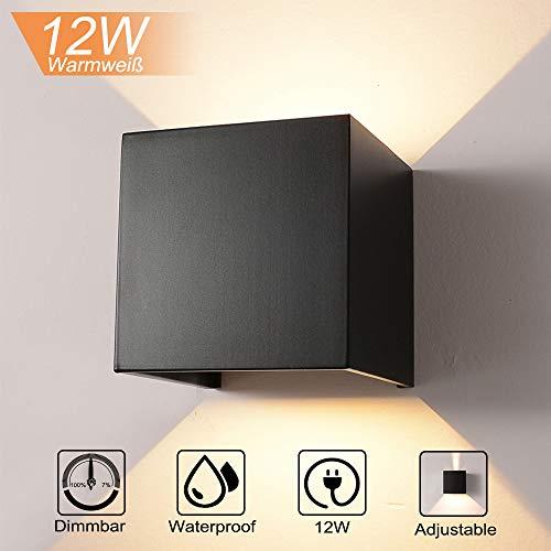 INHDBOX 12W Wandleuchte Dimmbar Aluminium Wasserdicht Wandlampe mit einstellbar Abstrahlwinkel LED Wandbeleuchtung für Innen und Außen-Warmweiß (Schwarz)