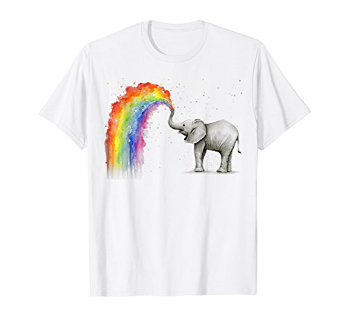 Elephant Spraying Rainbow T-shirt Baby Elephant Watercolor