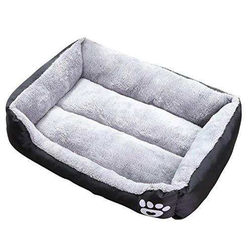 Hondenhok en cathouse, winterwarme teddy, golden retriever kleine en middelgrote hondenbenodigdheden, grote cathouse mat, vier seizoenen (grijs)-Zwart_XXL: 110 * 85 * 19
