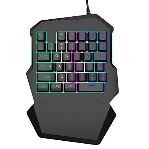 DERCLIVE Kabelgebundene Gaming-Tastatur mit RGB-Hintergrundbeleuchtung 35 Tasten Einhand-Tastatur Schwarz / T9